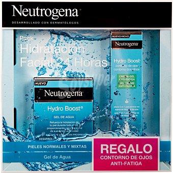 Neutrogena Hidratación facial 24 horas para pieles normales y mixtas pack con Hydro Boost gel de agua + contorno de ojos anti-fatiga 15 ml tarro 50 ml