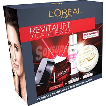 L'Oréal Pack Revitalift Laser X3 con crema intensiva de día anti-edad + regalo agua micelar desmaquillante + regalo de un espejo