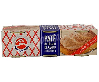Pamplonica Paté de hígado de cerdo Pack de 3 unidades de 80 gramos