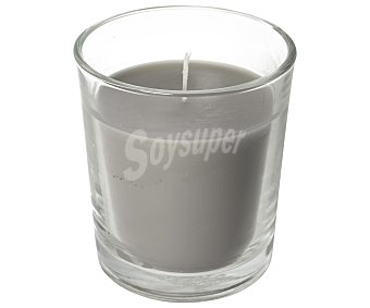 Auchan Vela gris con olor a almizcle en vaso transparente 1 unidad