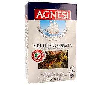 Agnesi Fusillis nº 678, pasta de sémola de trigo duro de calidad superior a las espinacas y tomate 500 gramos