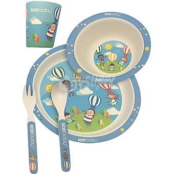 Ico baby Vajilla de fibra de bambú estilo Globos caja 1 set con plato llano, plato hondo, vaso, cuchara y tenedor