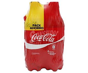 Coca-Cola Refresco de cola Pack 4 botellas de 500 ml