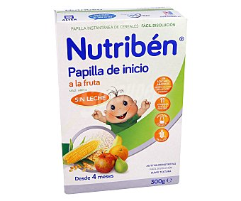 Nutribén Papilla de 2 cereales (máiz y arroz) y frutas a partir de 4 meses 300 g