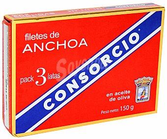 CONSORCIO Filetes de anchoa en aceite de oliva 3x50 gramos