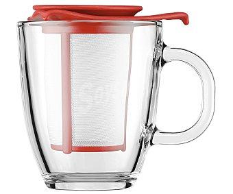 Bodum Mug tetera individual cuerpo transparente y filtro color rojo, de capacidad, Yo Yo bodum 0,35 litros