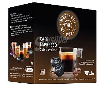 MEPIACH Café espresso de tueste natural en monodosis (sabor italiano) 16 unidades