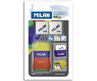 Milan Sacapuntas con borrador tacto goma + 2 recambios de borrador 1 unidad