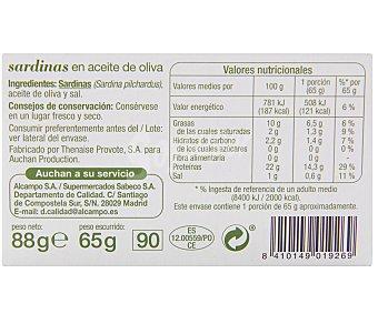 Auchan Sardinillas en Aceite de Oliva 65 Gramos