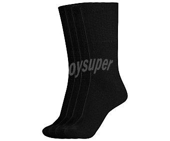 IN EXTENSO Pack de 4 pares de calcetines deportivos de rizo, color negro, talla única Pack de 4