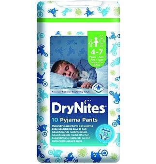 Dry Nites Pañal noche 17-30kg 4-7 años niño 10 UNI