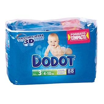Dodot Pañales 4-10 kgs talla 3 absorción 3D paquete 88 ud 4-10 kgs