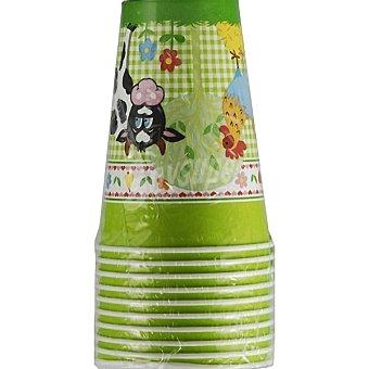 Papstar Vaso de cartón decorado infantil de animales de granja Paquete 10 unidades