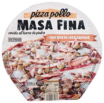 HACENDADO Pizza congelada pollo con queso mascarpone masa fina  400 g