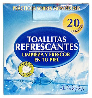 Deliplus Toallitas humedas refrescantes (envase individual) Paquete 20 u