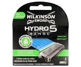 WILKINSON HYDRO 5 SENSE Recambio de cuhcillas con 5 hojas, para maquinilla de afeitar 4 uds