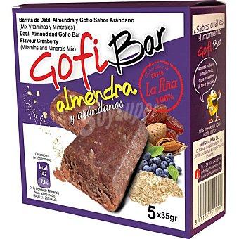 La Piña Gofi Bar - barritas de dátil almendra y gofio sabor arándano  5x35g, caja 175 g
