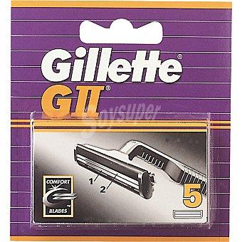 Gillette G II recambio de maquinilla de afeitar estuche 5 unidades Estuche 5 unidades