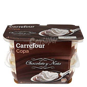 Carrefour Copa chocolate y nata - Sin Gluten Pack 4x115 g