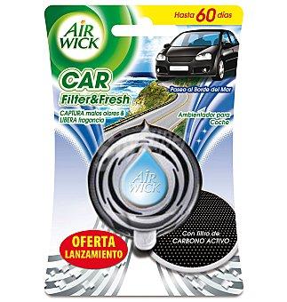 Air Wick Ambientador de coche Paseo al borde del mar aparato + recambio con filtro de carbono activo 1 ud
