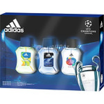Adidas estuche eau de toilette masculino con Champions League + Get Ready + Team Five  pack 3 spray 50 ml