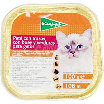 El Corte Inglés Paté con trozos con buey y verduras para gato Tarrina 100 g