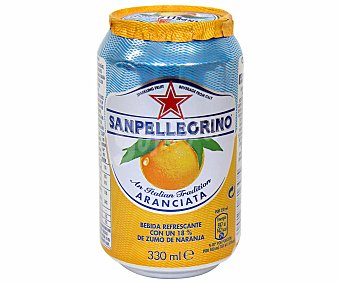 SAN PELLEGRINO Agua con gas sabor naranja Lata de 33 Centilitros