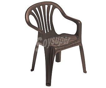 PLASMIR Silla fija aplilable para jardín. Fabricada en resina monobloc de color wengue, con respaldo bajo y asiento con altura de 42 centímetros 1 unidad