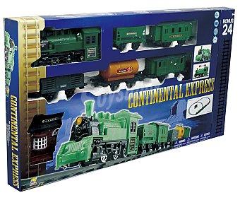 Tren Pista de tren El Tren del Oeste con luces y sonidos, incluye estación, locomotora y vagones 1 unidad