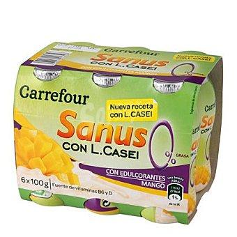 Carrefour Yogur líquido Sanus sabor mango 0% + l.casei 6 unidades de 100 g