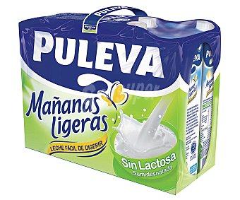 Puleva Leche semidesnatada sin lactosa Mañanas ligeras de 6 unidades de 1 litro