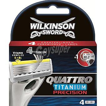 Wilkinson Recambio de maquinilla de afeitar Quattro Titanium Precision Estuche 4 unidades