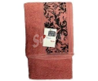 AUCHAN Toalla para ducha, algodón color rosa, estampado jacquard, 450 gramos/m², 70x140 centímetros 1 Unidad