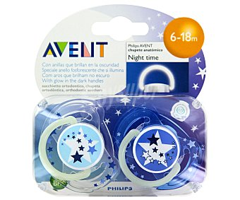 Avent Philips Chupete nocturno 6 a 18 Meses 2 uds