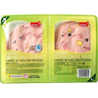 Aliada pechuga de pavo con pistachos en lonchas  pack 2 envases 100 g