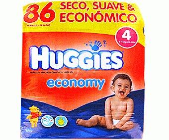HUGGIES ECONOMY Pañales Jumbo Globo Talla 4 (9 a 15 Kilogramos) 86u