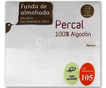 Auchan Funda para almohada de percal color blanco, 105 centímetros 1 Unidad