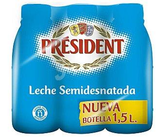 Président Leche semidesnatada Pack 6 botellas x 1.5 l
