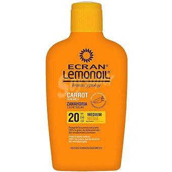 ECRAN LEMONOIL Broncea y protege leche solar de zanahoria FP-20 Frasco 375 ml