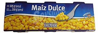 Hacendado Maiz dulce conserva 3 latas de 75 g (225 g)