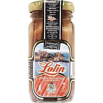 Lolín Filetes de anchoa en aceite de oliva Frasco 55 g neto escurrido