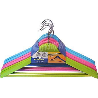 MONDEX 9301/6 set de 6 perchas de madera en colores