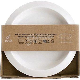 Betik Platos apilables ecológicos biodegradables y biocompostables en caña de azúcar caja 8 unidades tamaño mediano 20 cm caja 8 unidades