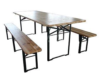 GARDEN STAR Conjunto de mesa tipo comedor y 2 bancos plegables de madera de pino FSC mixto 803220 1 unidad