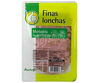 Productos Económicos Alcampo Mortadela con aceitunas, sin gluten y cortada en lonchas 180 g