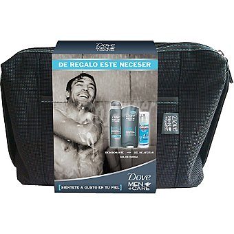 Dove Pack For Men Clean Comfort con desodorante spray 200 ml + gel de ducha frasco 400 ml + gel de afeitar Williams Ice Blue + neceser de regalo Spray 200 ml