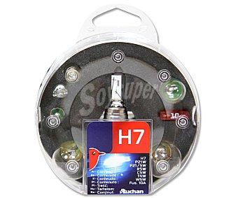 Auchan Estuche de bombillas H7-P21W-P21/5W-R5W-C5W-T4W-W5W y 1 fusible 10A 1 unidad