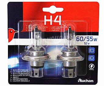 Auchan Bombillas halógenas para automóvil, modelo H4, potencia: 55-60W 2 unidades