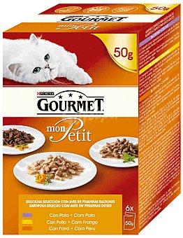 Gourmet Purina Comida para gatos selección de Pollo Mon Petit sobres 6x50g