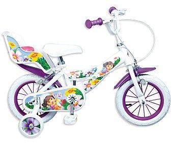 Toimsa Bicicleta Infantil Dora la Exploradora con Portamuñecas Trasero, 1 Velocidad 12 Pulgadas 1 Unidad